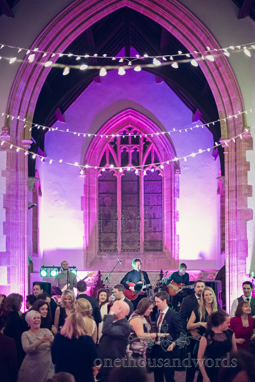 Wedding band on church stage at Plush Manor wedding photographs