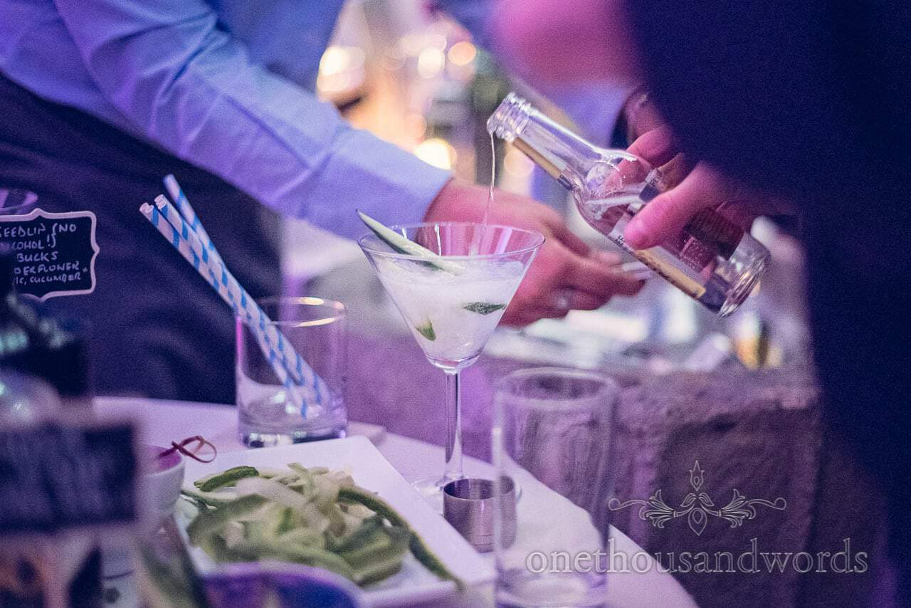 Wedding gin and tonic drinks being poured at Plush Manor wedding evening