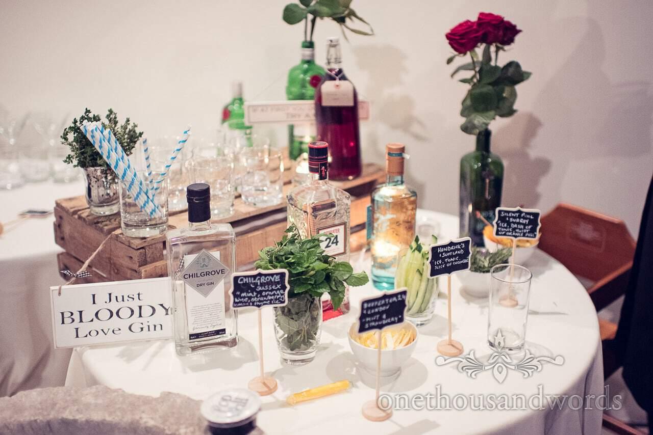 Wedding gin selection at Plush manor wedding evening
