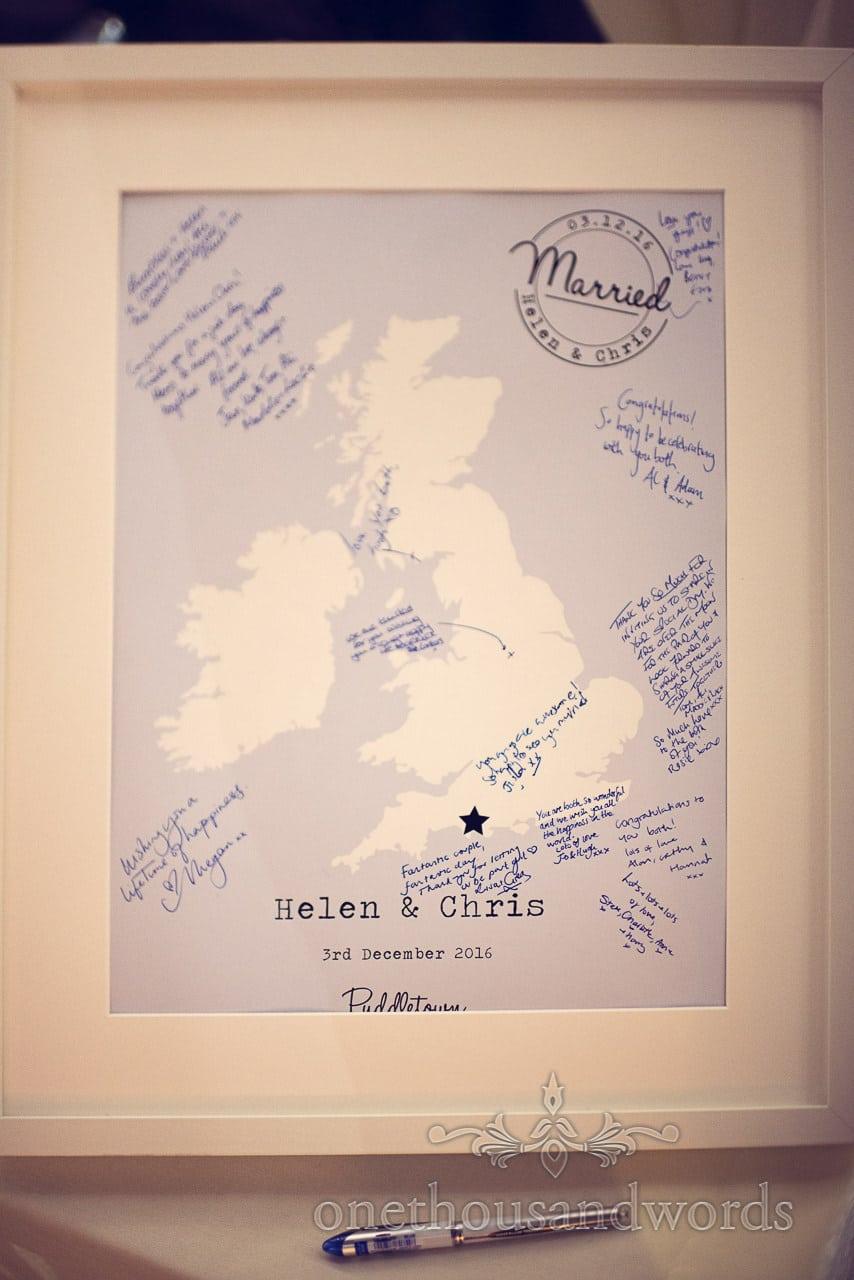 Wedding Signing map of the UK from Plush manor wedding photographs