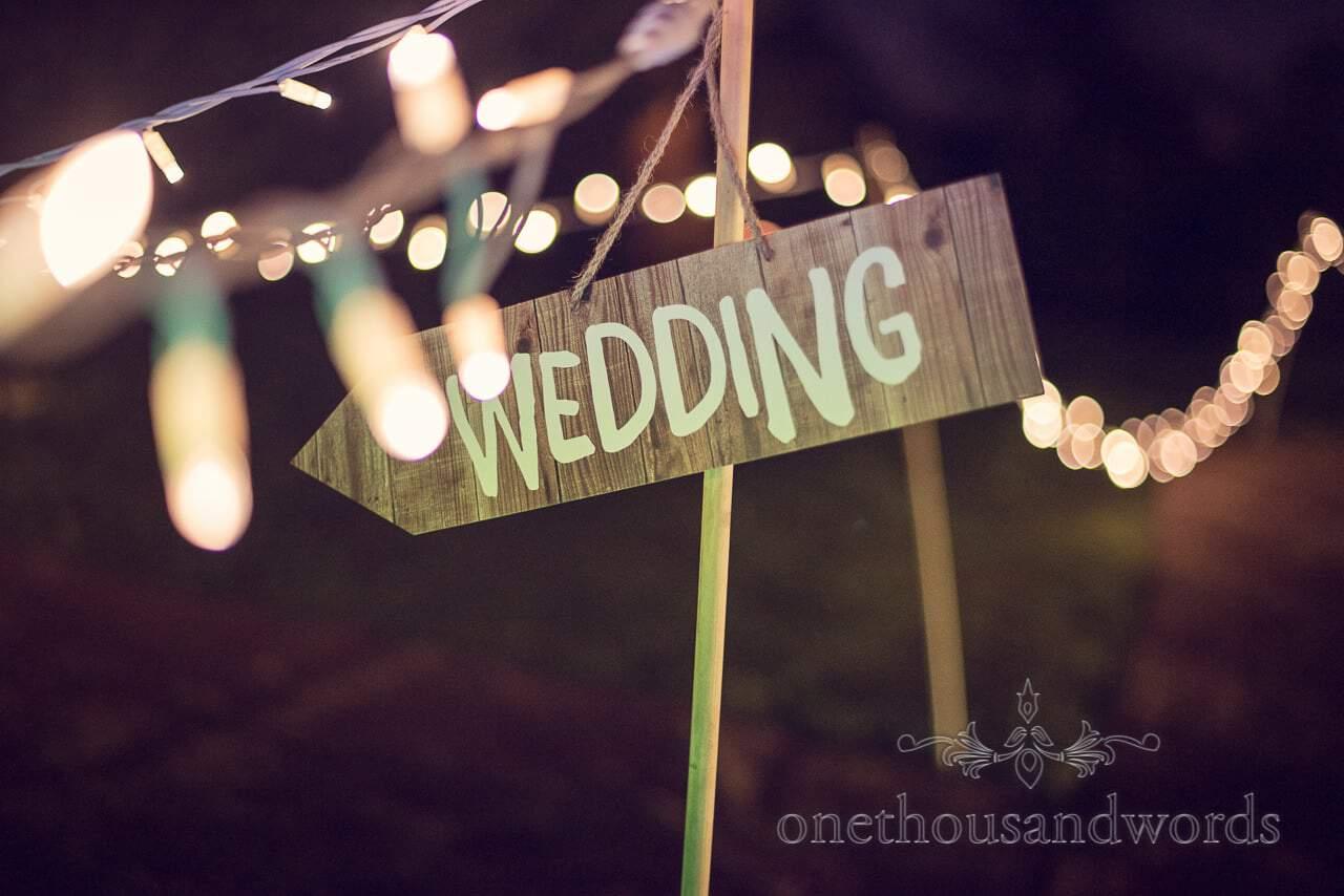 Wooden wedding sign at Plush manor wedding photographs