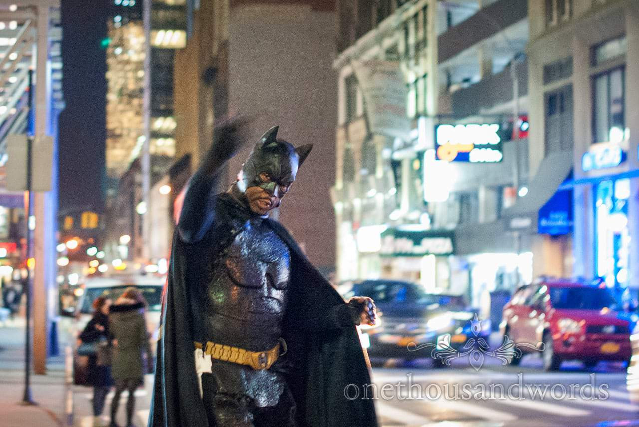 Batman near Time square from New York City marriage proposal Photographs