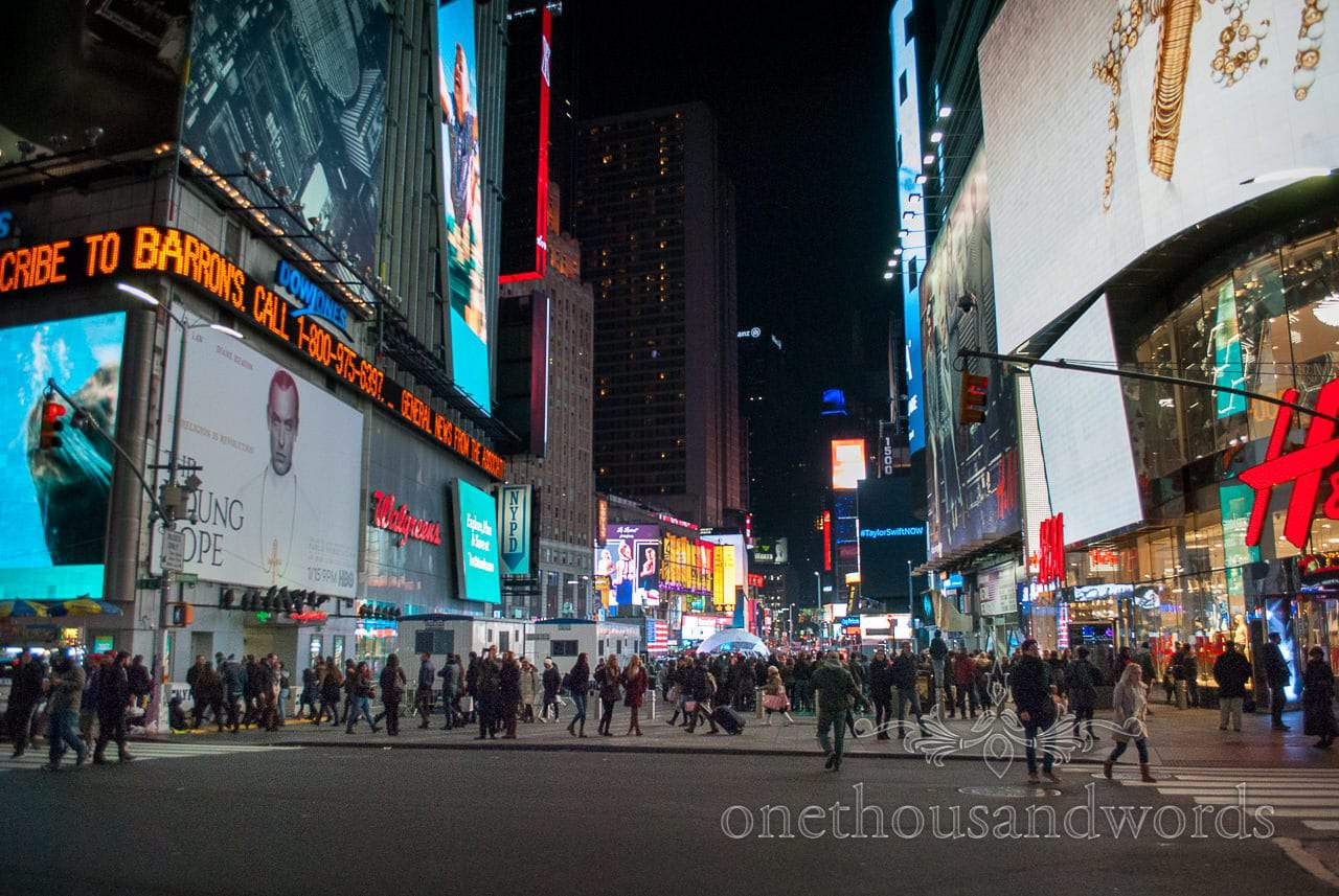 Crowds in Time square at night - New York City marriage proposal Photographs Photography