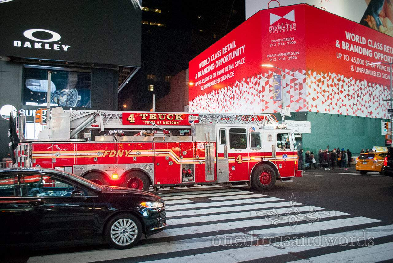 Fire truck in Time square from New York City marriage proposal Photographs