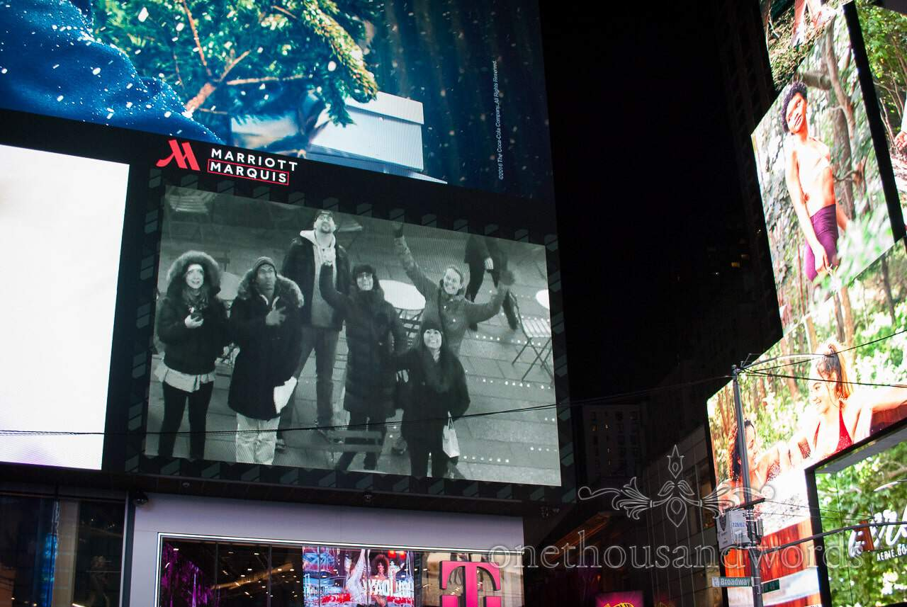 Live on the big screen in Time square - New York City marriage proposal Photographs