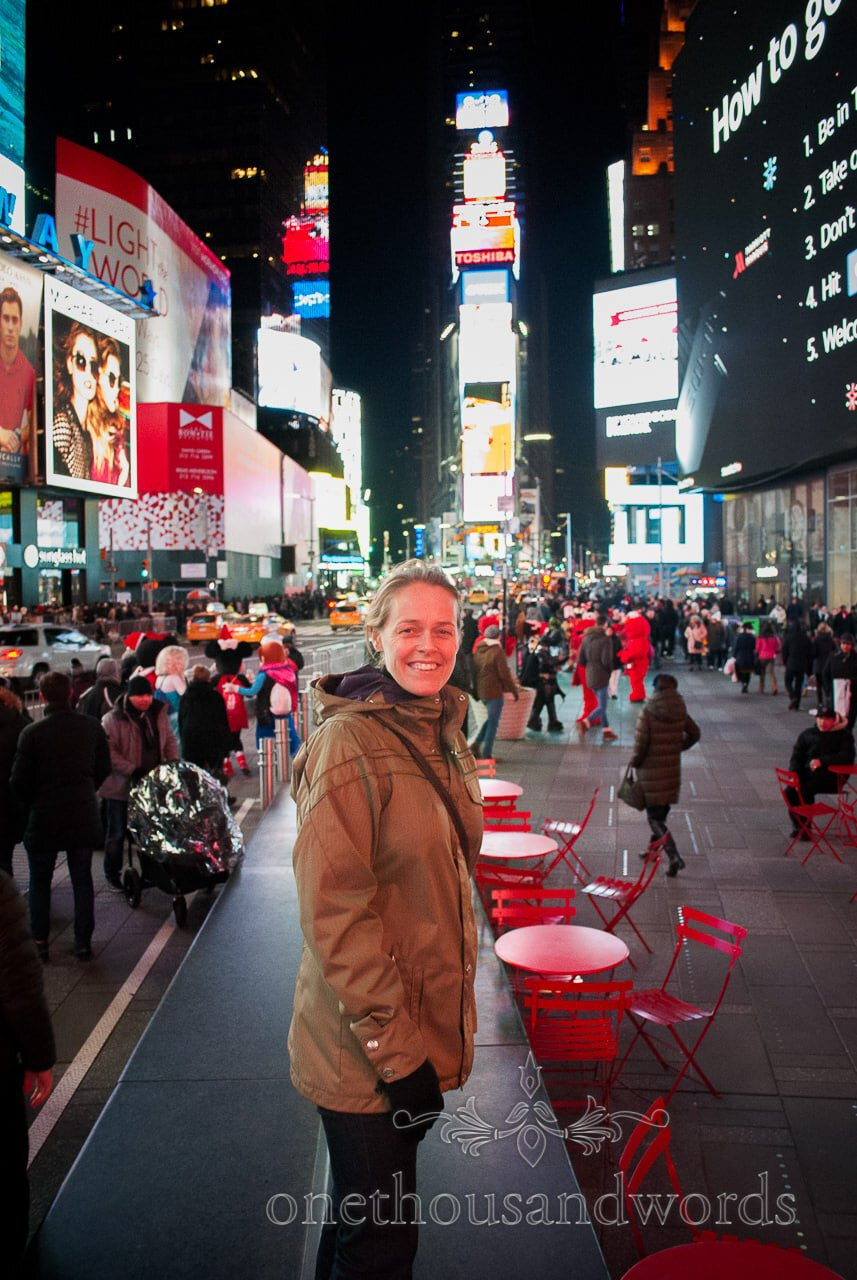 Natalie in Time square - New York City marriage proposal Photographs