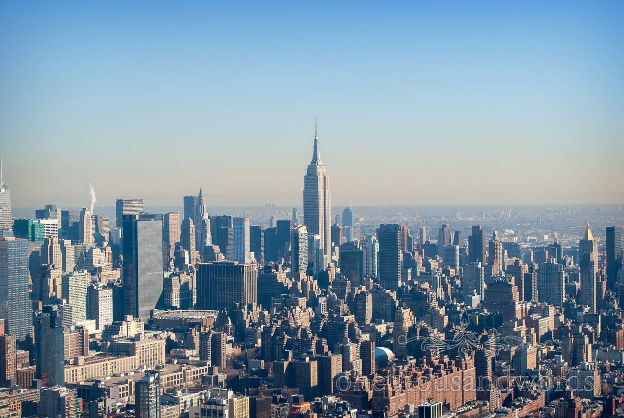 New York Skyline from helicopter - New York City marriage proposal Photographs
