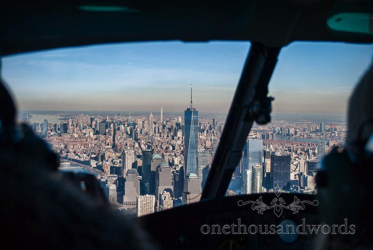 One World Trade Center from Helicopter - New York City marriage proposal Photographs