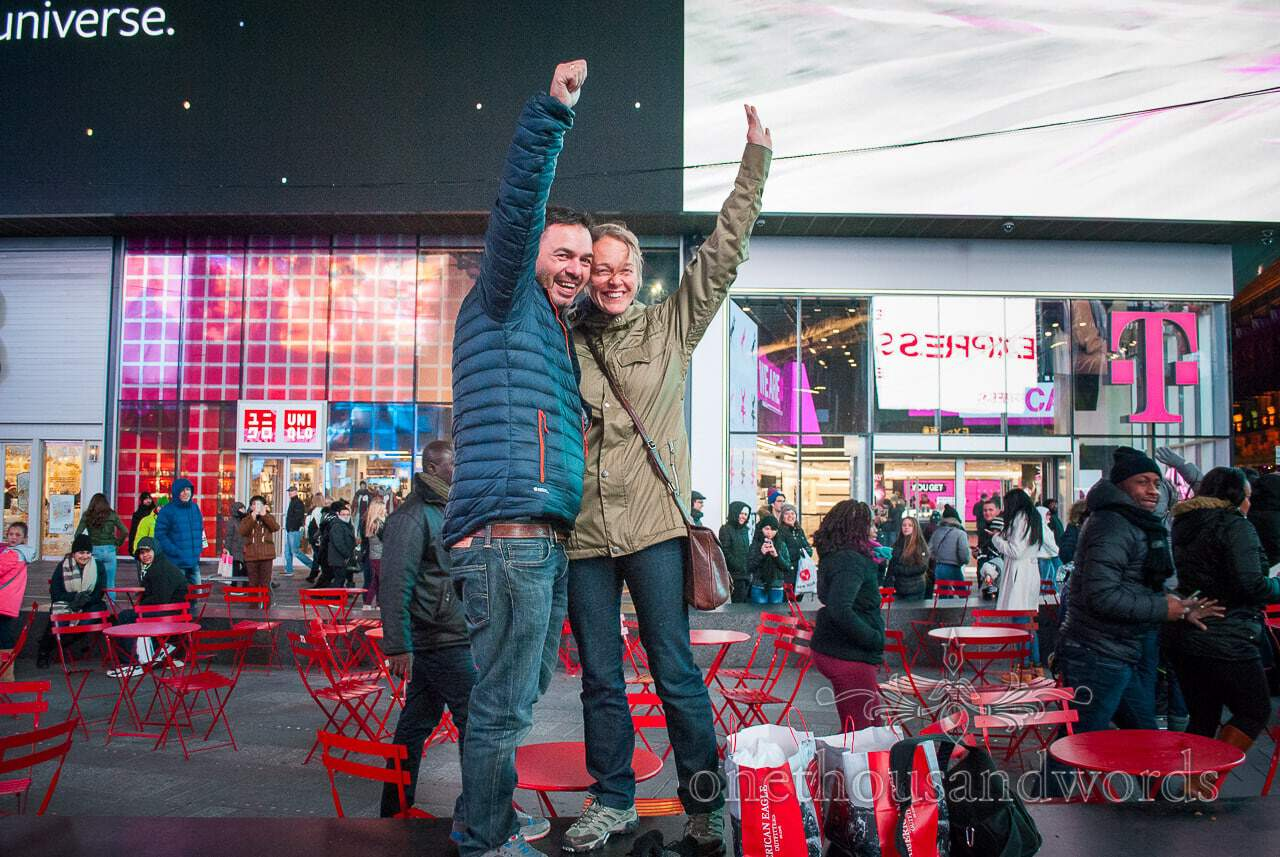 She said yes in Time square - New York City marriage proposal Photographs