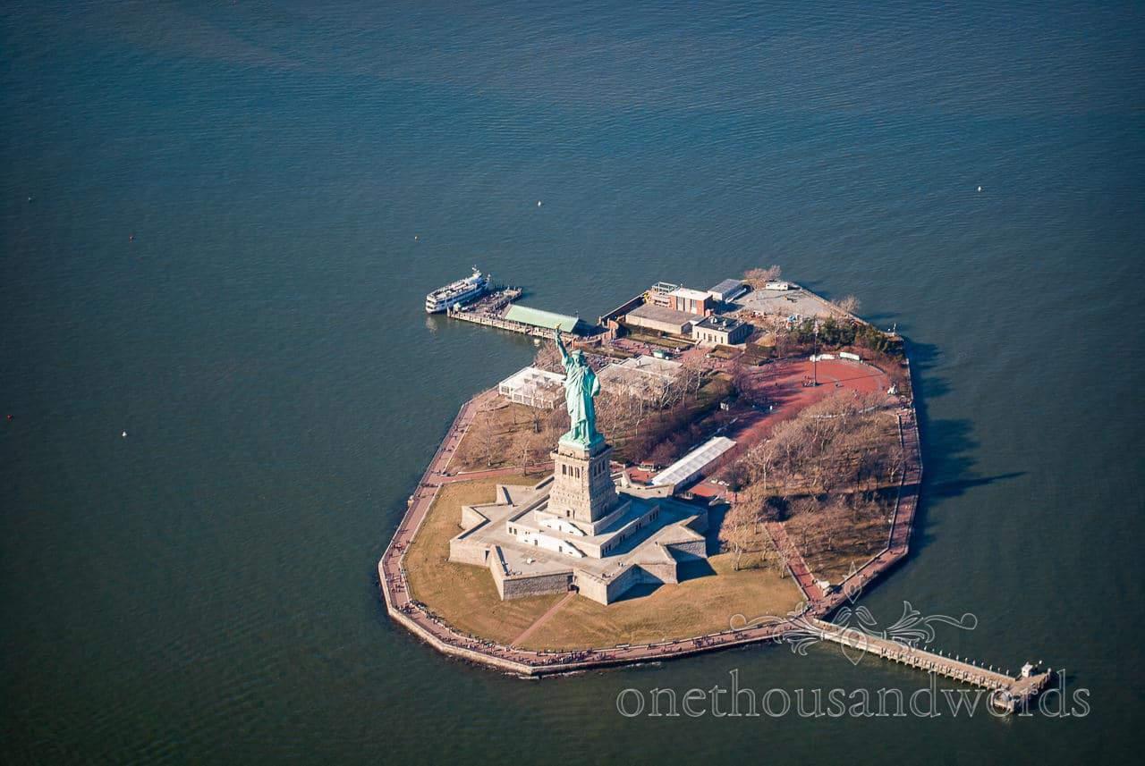 Statue of Liberty from Helicopter - New York City marriage proposal Photographs
