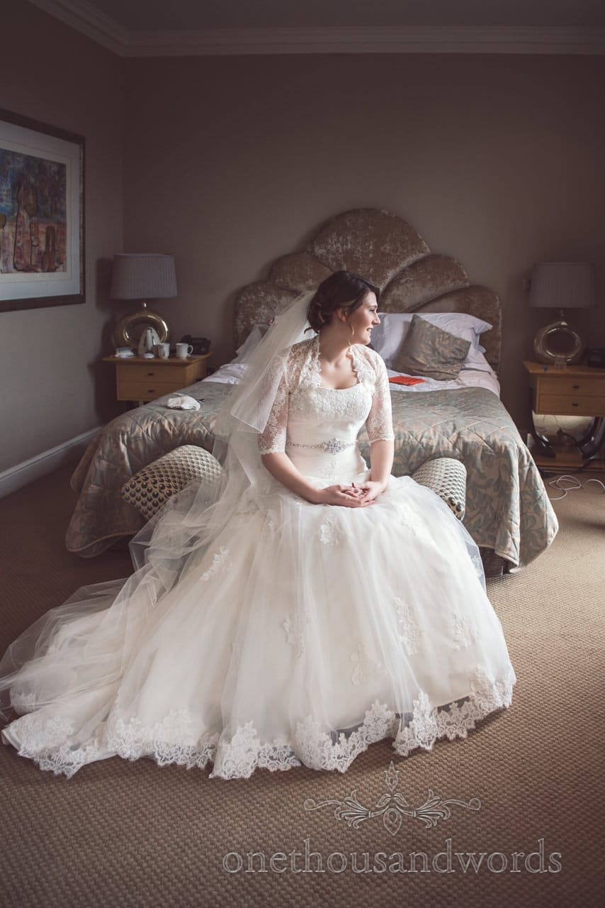 Bride in stunning white wedding dress on Kings Arms Hotel wedding morning