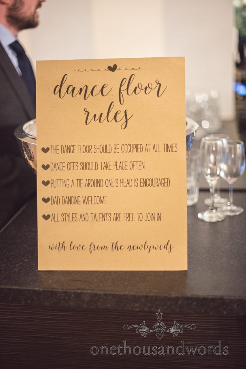 Dance floor rules wedding sign on Bar at Dorset wedding venue