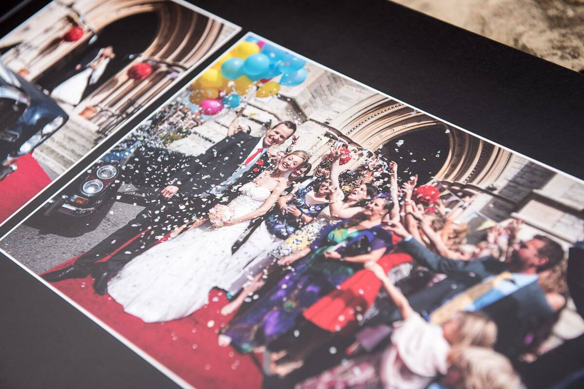 Digital wedding photography album close up photograph