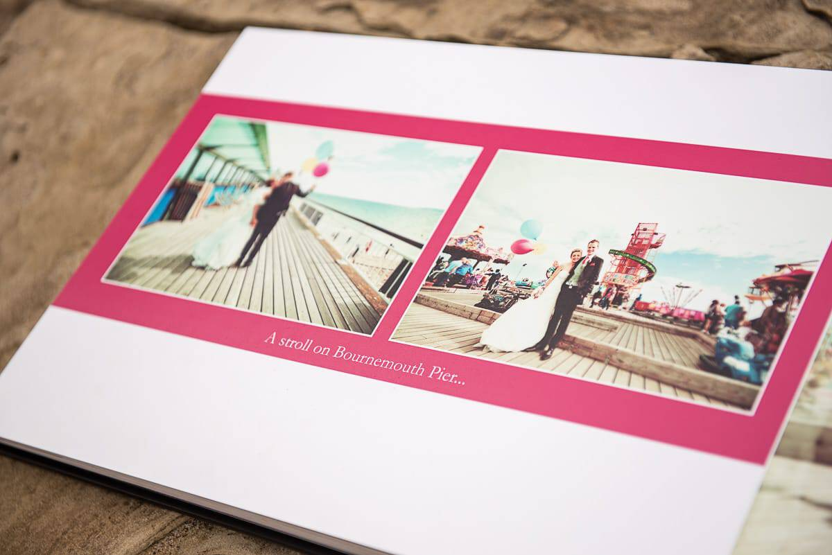 Digital Wedding Photography Album with Bournemouth Pier weddign photographs