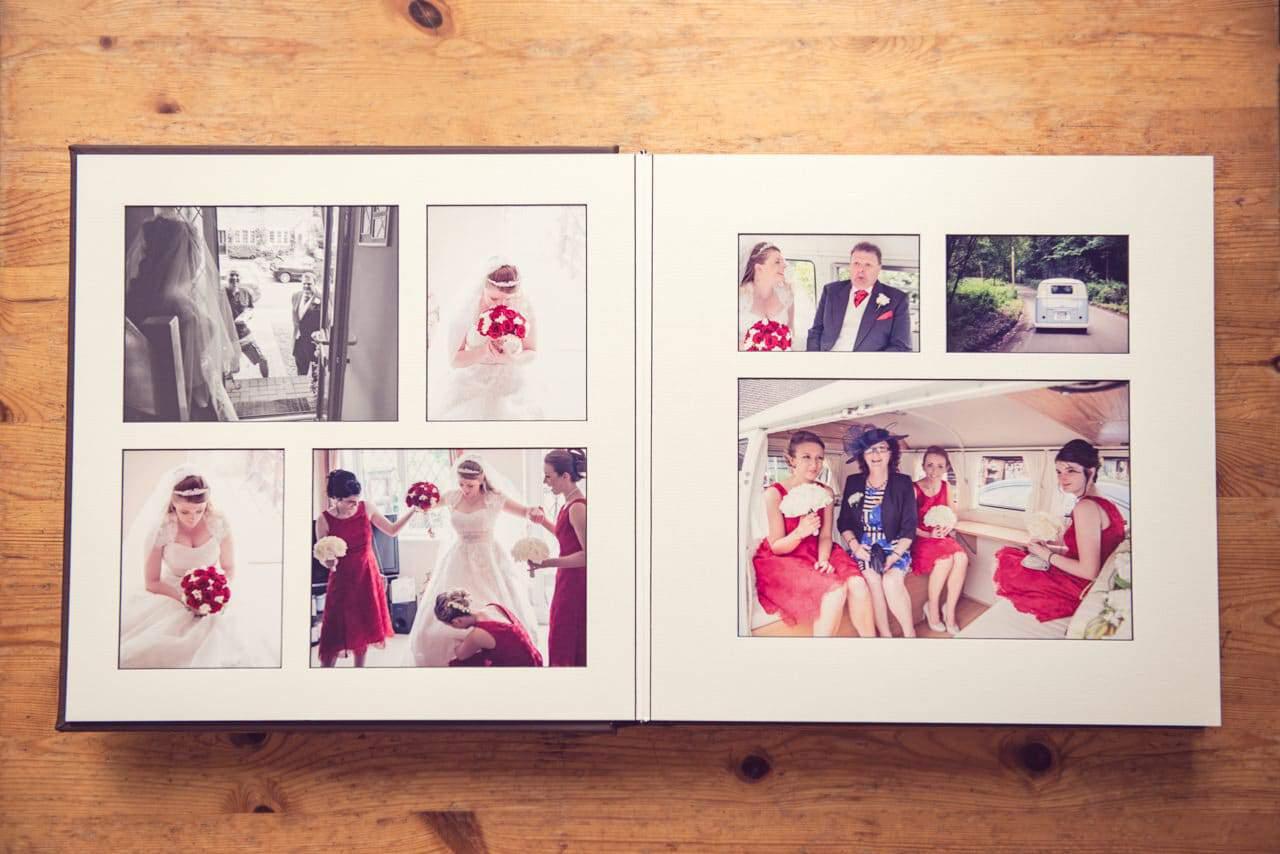 Example of matted wedding photography album layout Fine Art Album