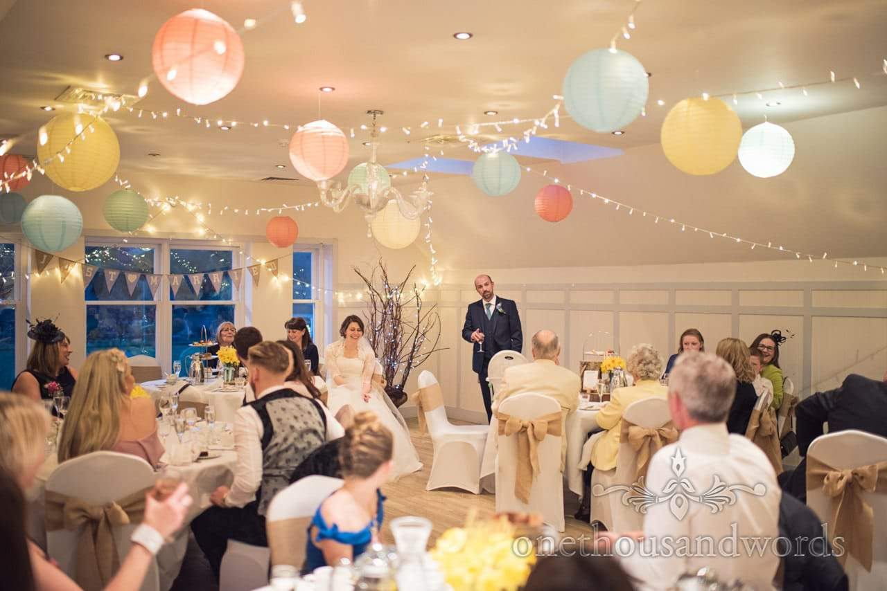 Grooms wedding speech at Kings Arms Hotel decorated with chinese lanterns