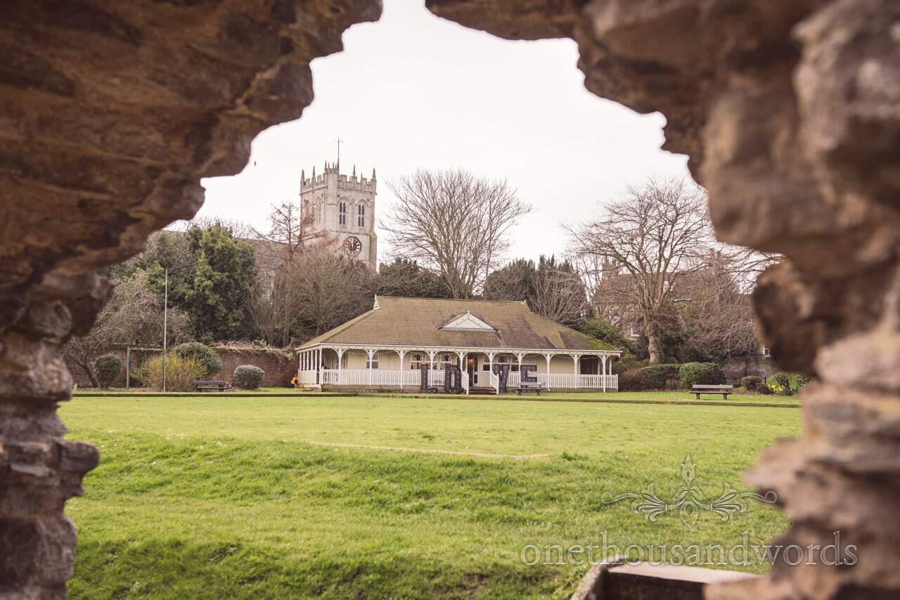Kings Arms Pavillion wedding venue with love letters in Christchurch, Dorset