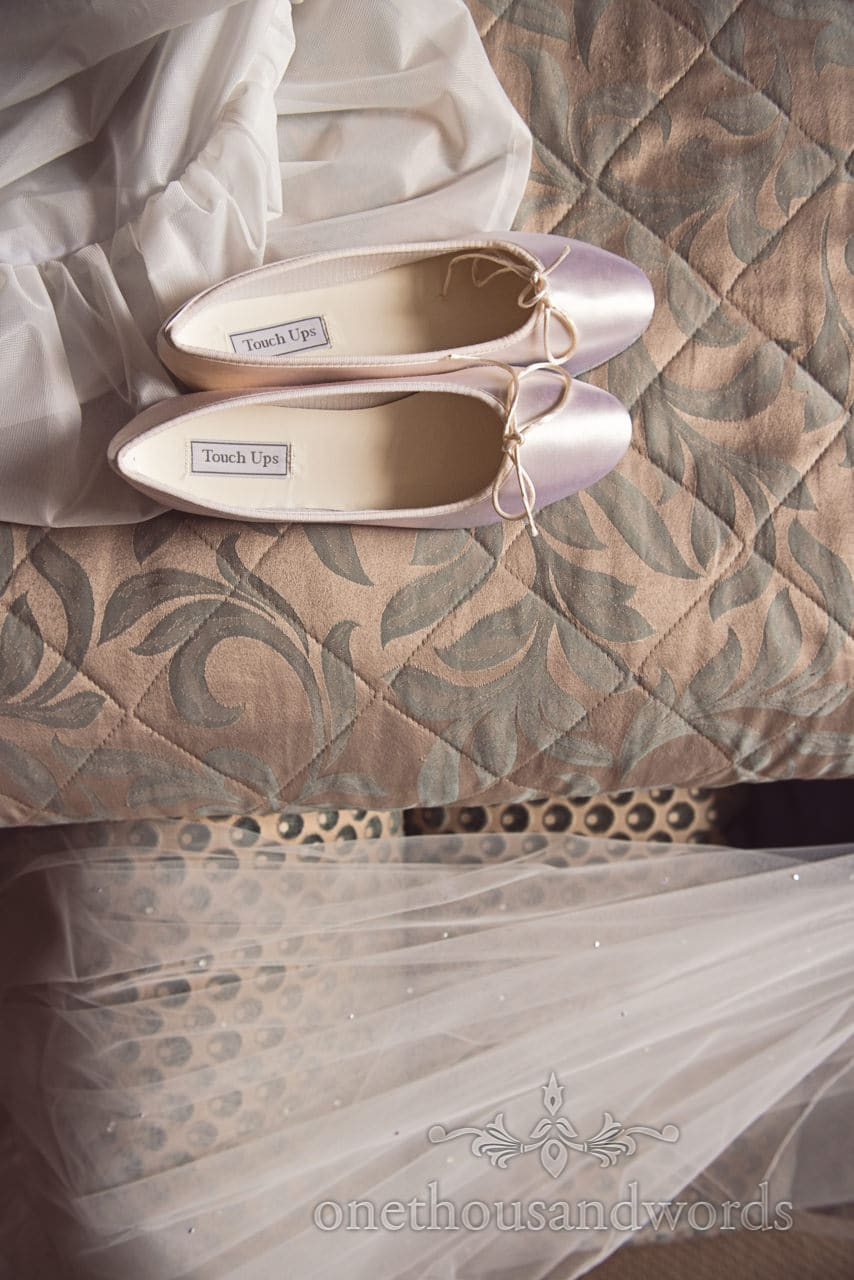 Kurt Geiger flat wedding shoes dress and veil on kings Arms wedding morning