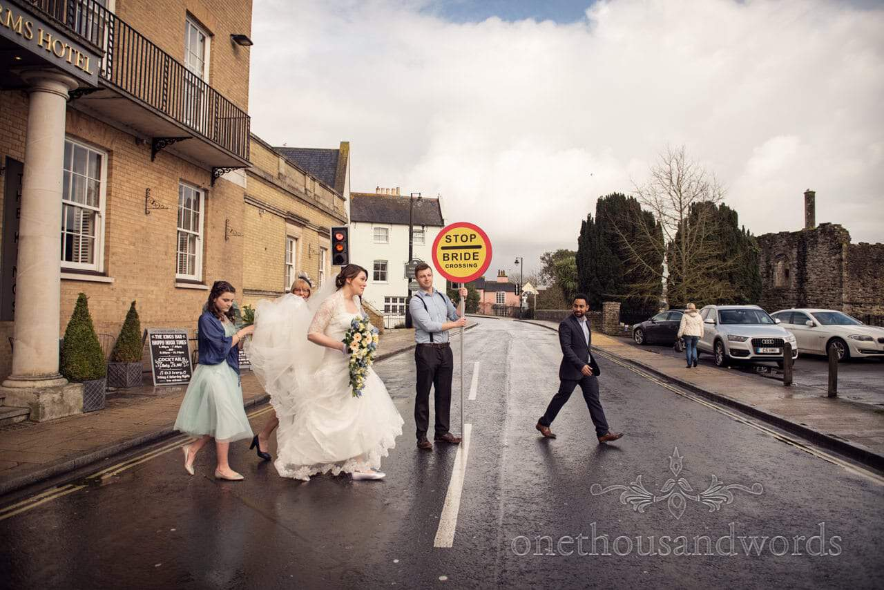 Stop Bride Crossing Sign on the road outside Kings Arms Hotel wedding venue