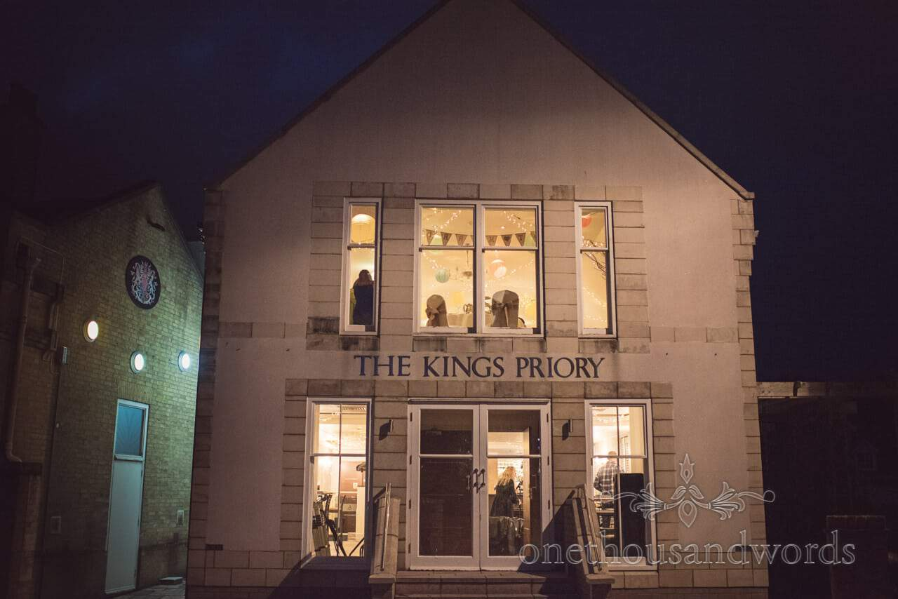 The Kings Priory wedding venue photograph in Christchurch, Dorset at night