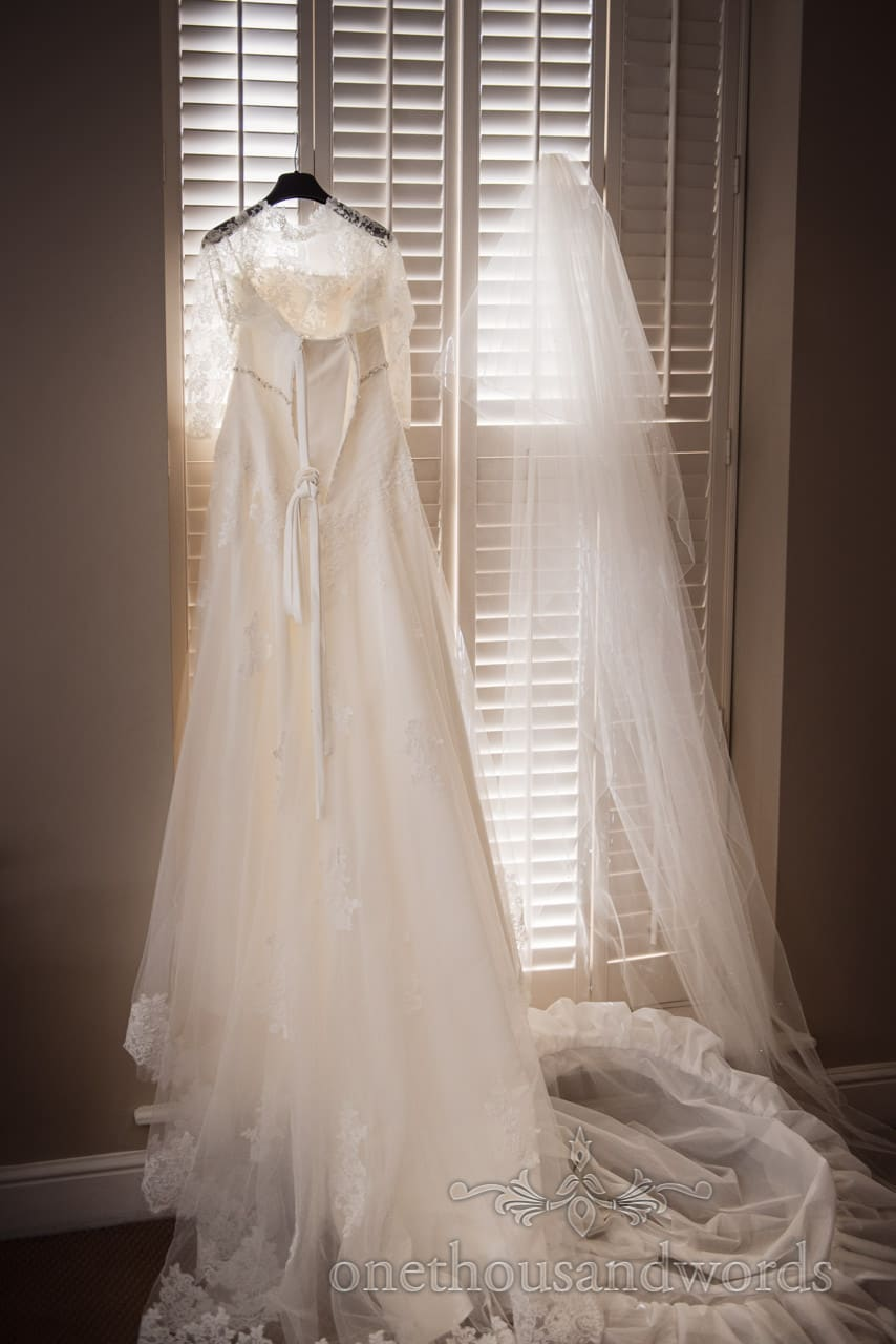white wedding dress backlit with lace detail, veil and hoop