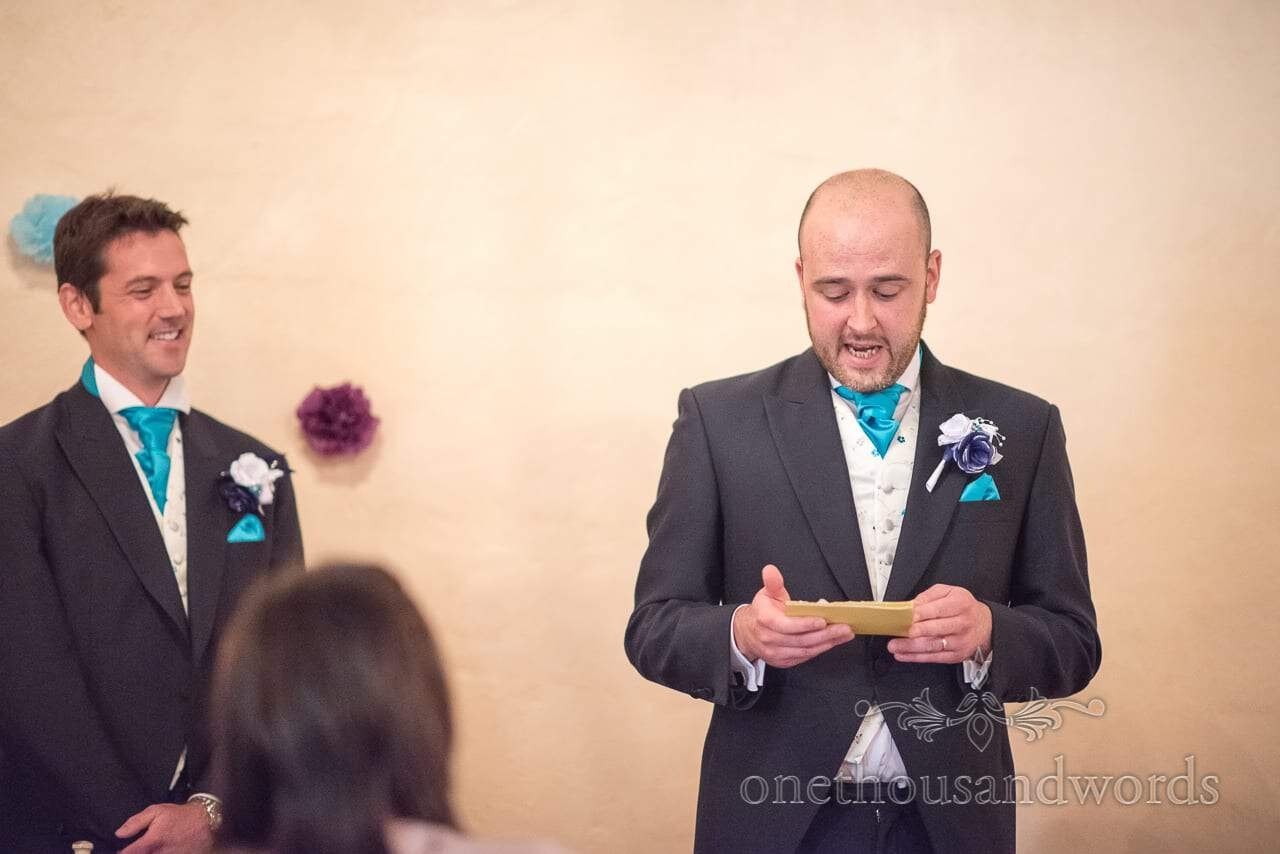 Best man delivers speech at Walton Castle wedding photographs