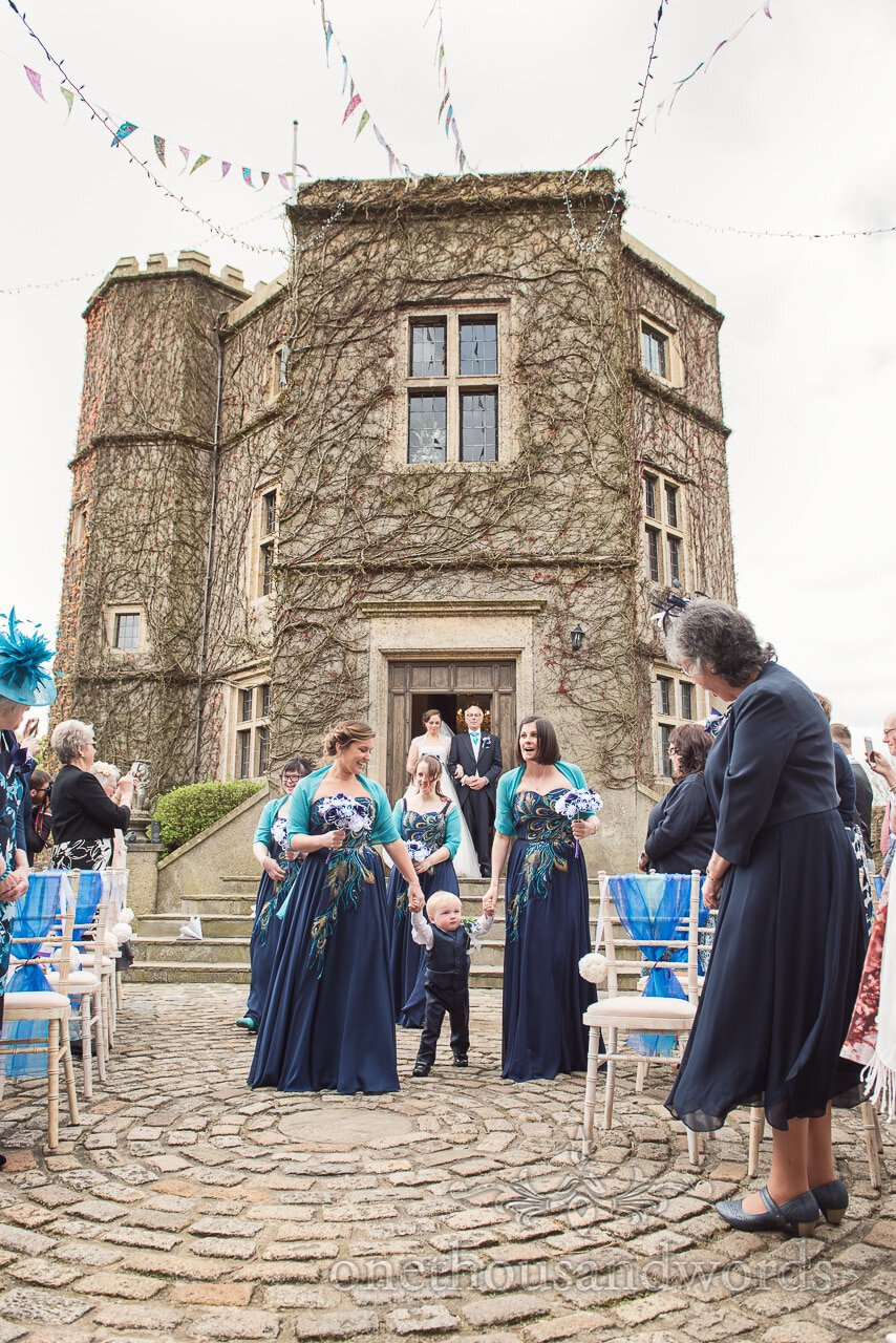 Bridal party arrive for ceremony at Walton Castle wedding photographs