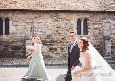 Bridal party make their way to reception venue