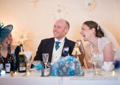 Bride and Grooms reaction at Walton Castle wedding photographs