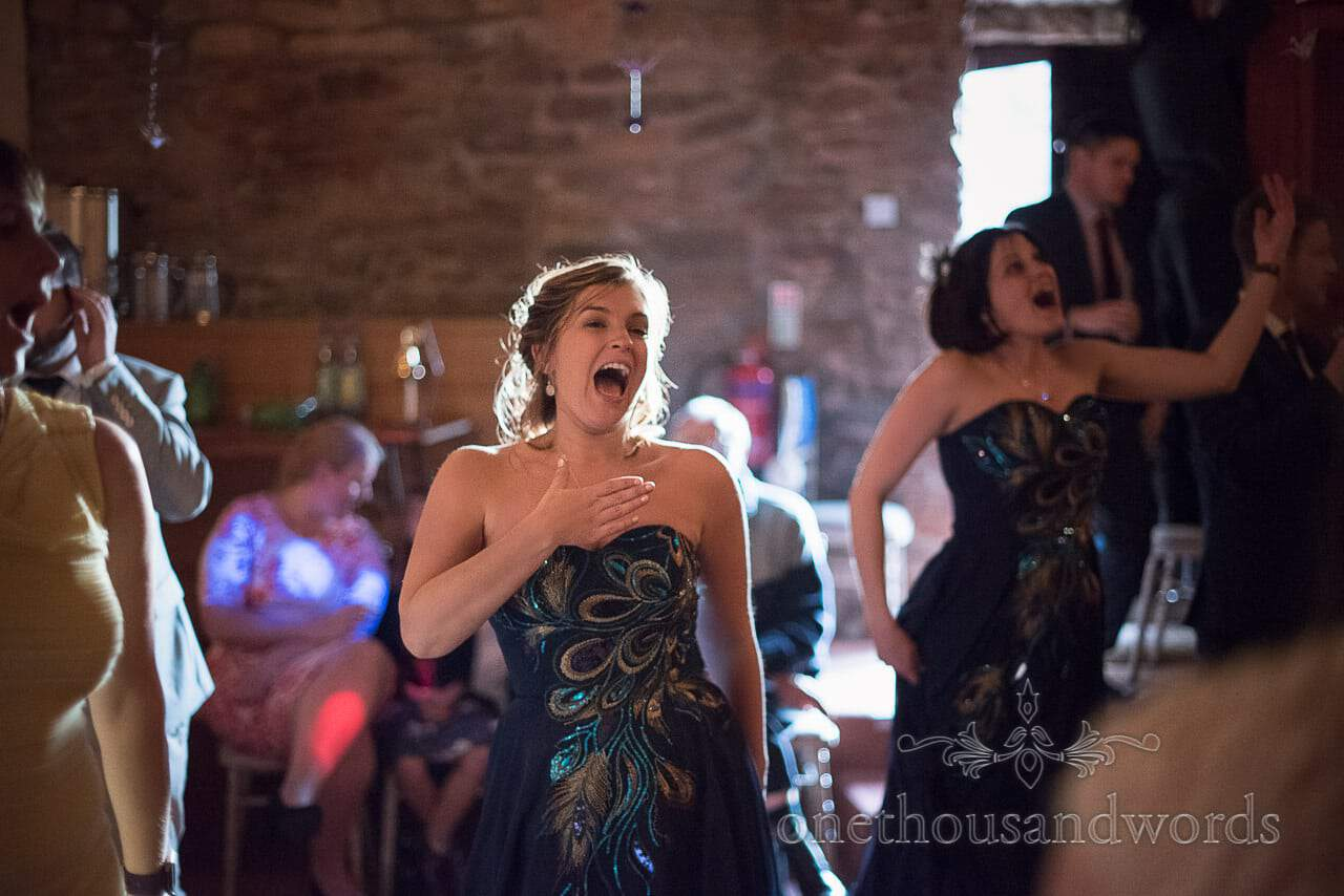 Bridesmaids on the dance floor at Walton Castle wedding photographs