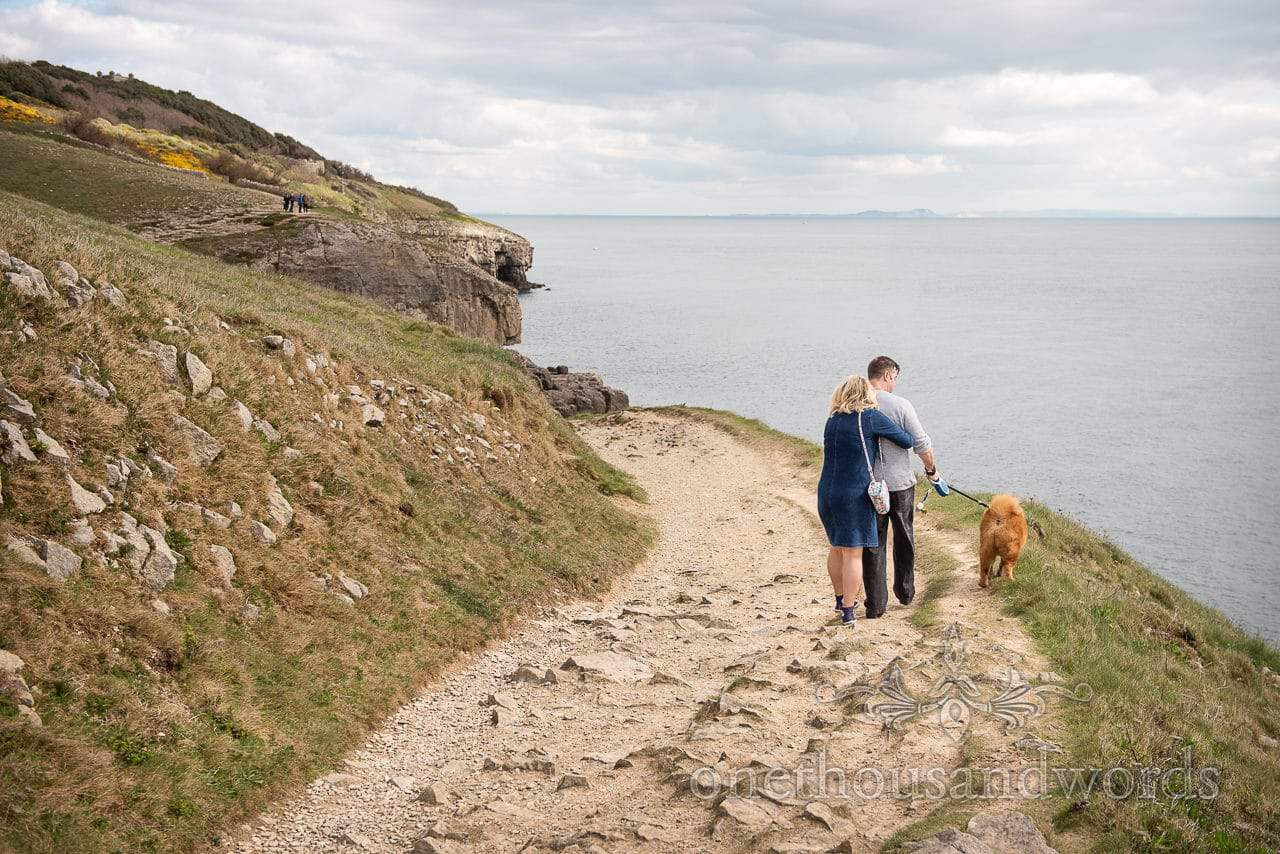 Coastal engagement photo shoot with chow chow dog at Durlston Head, Dorset
