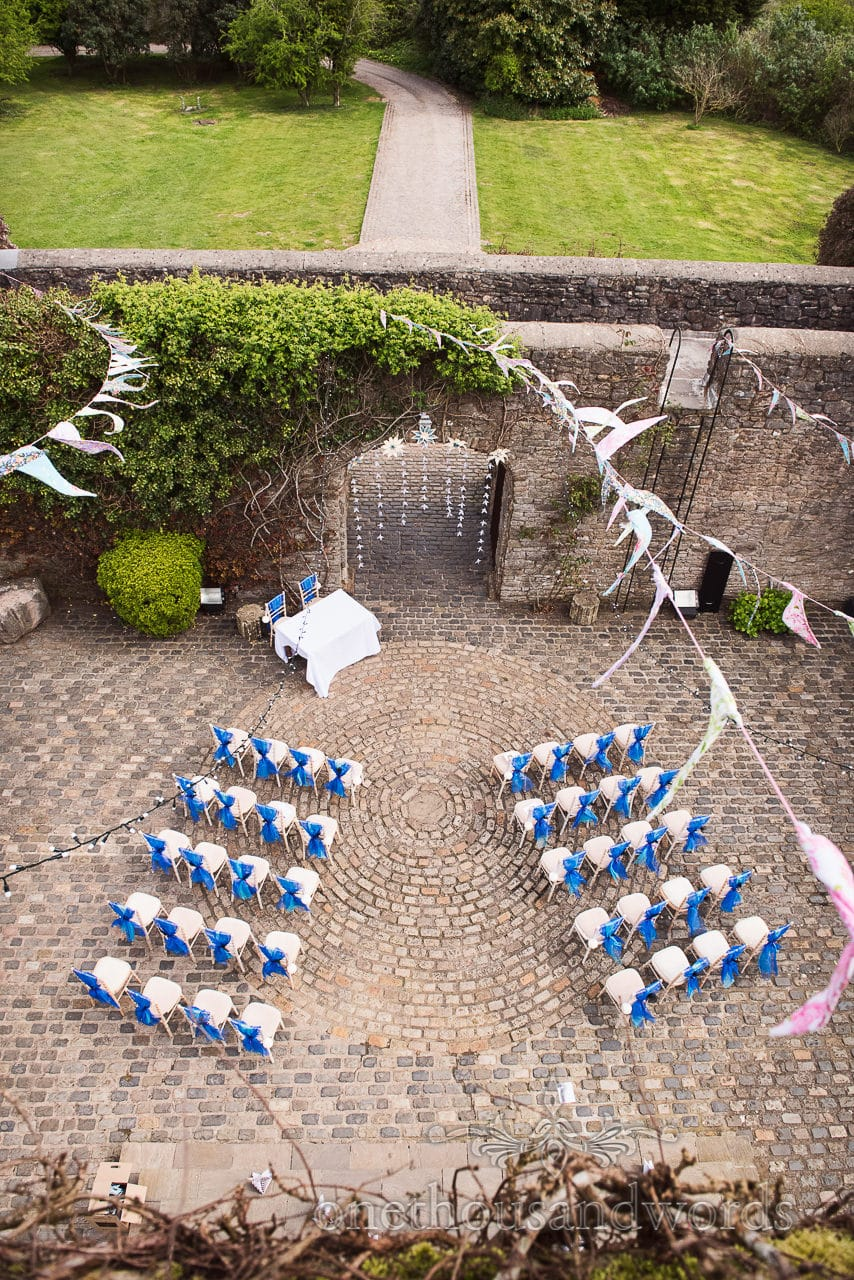 Courtyard ready for ceremony at Walton Castle wedding photographs
