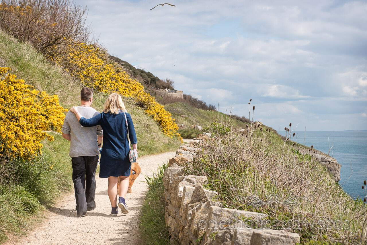 Engagement photo shoot bride and groom walk along Dorset coastal path with yellow gorse flowers