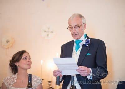 Father of the bride delivers his speech at Walton Castle wedding photographs