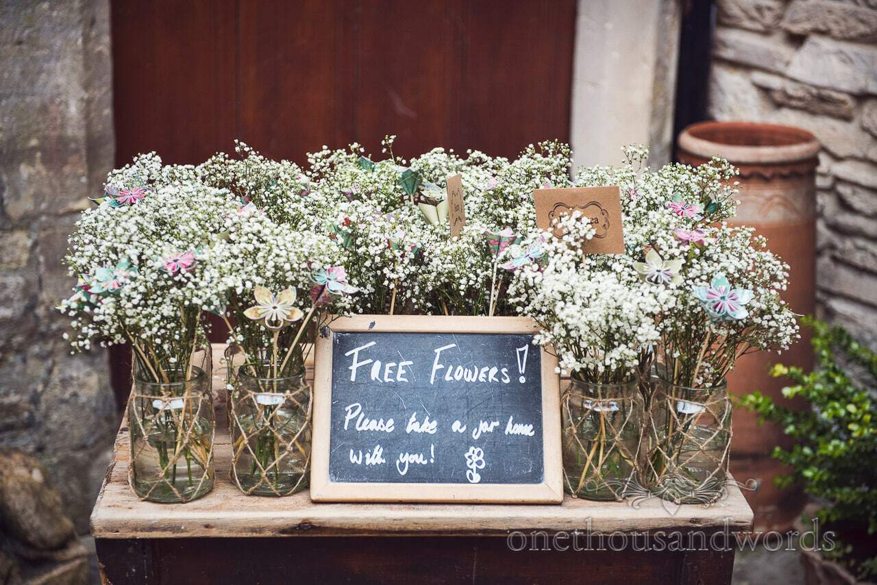 Free gypsophila flowers at Scaplens court wedding photographs