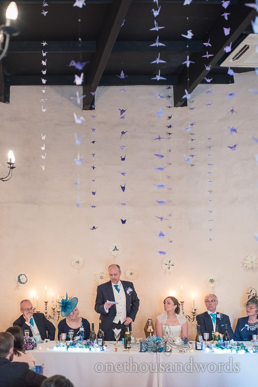Groom delivers speech at Walton Castle wedding photographs