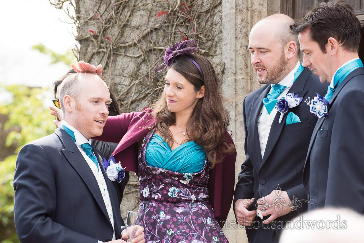Groom, Maid of Honor and best men at Walton Castle wedding photographs