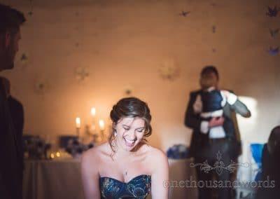 Laughing bridesmaid at Walton Castle wedding photographs