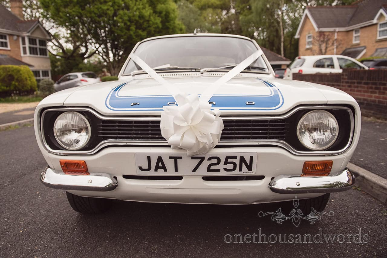 MK1 Fort Escort Wedding car at Scaplens Court wedding photographs