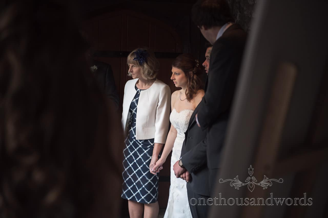 Mother and bride in receiving line at Scaplens court wedding photographs