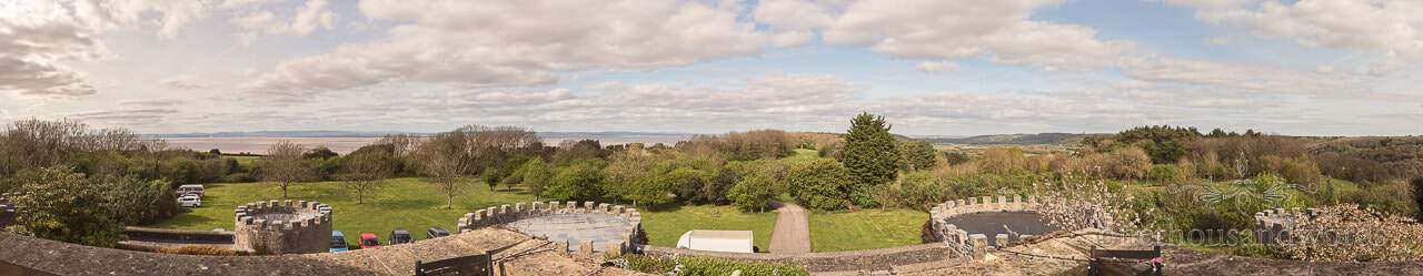 Panoramic view from the top of main turret at Walton Castle wedding photographs