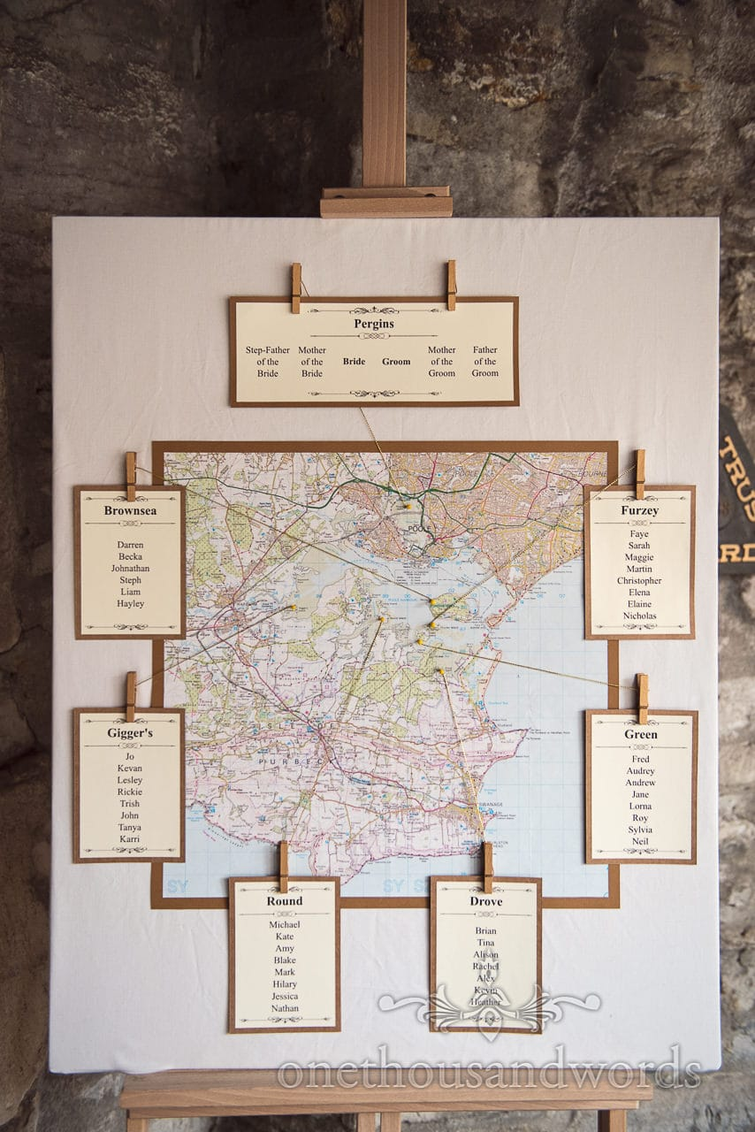Poole harbour area table plan at Scaplens court wedding photographs