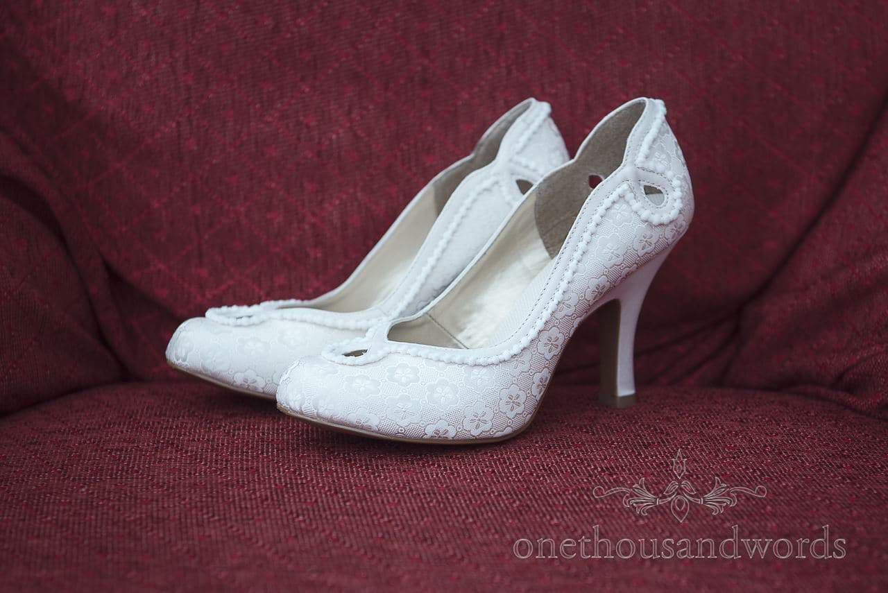 Ruby Shoos wedding shoes on morning of Scaplens Court wedding photographs