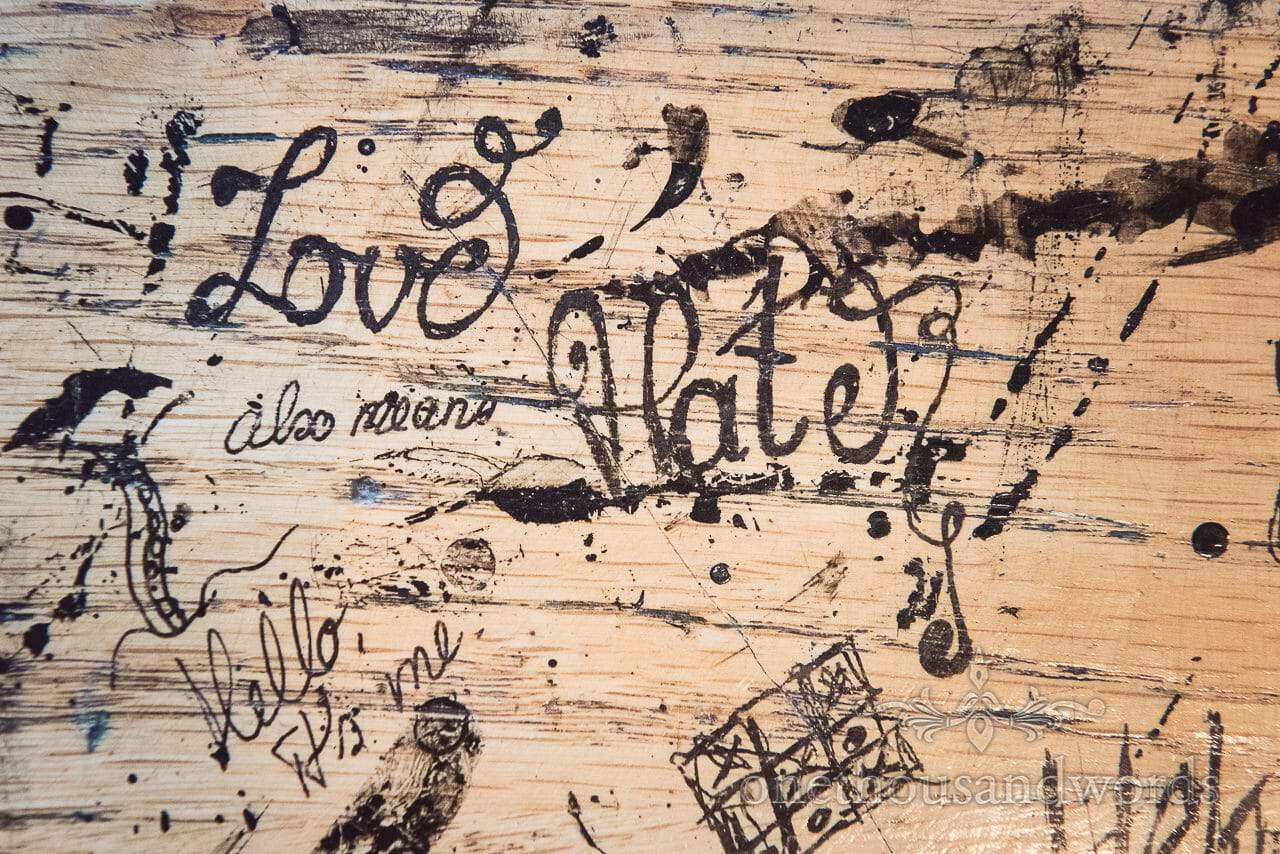 School desk graffiti at Scaplens court wedding photographs