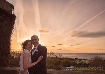 Sunset from the balcony at Walton Castle wedding photographs