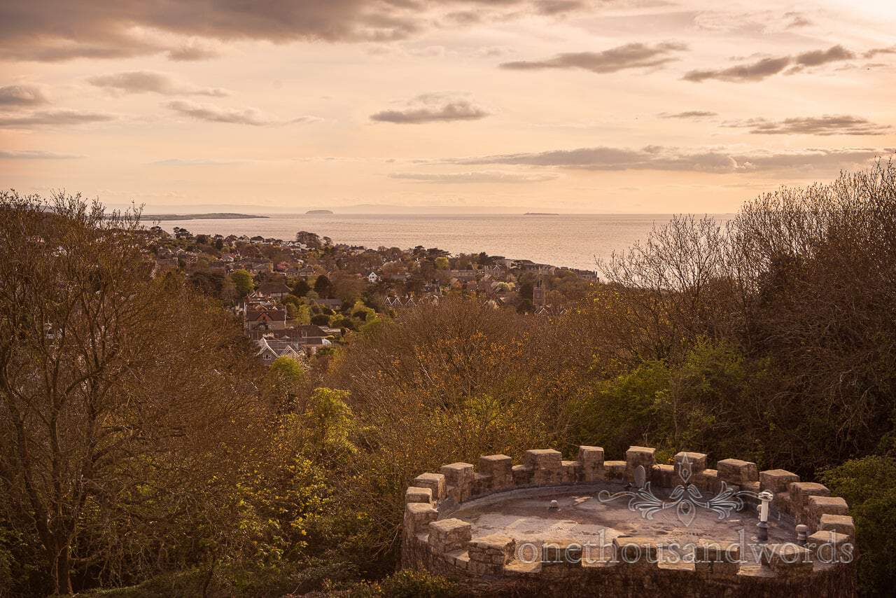 Sunset towards Wales from Balcony at Walton Castle wedding photographs