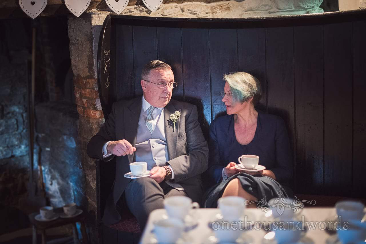 Time for tea or coffee at Scaplens court wedding photographs