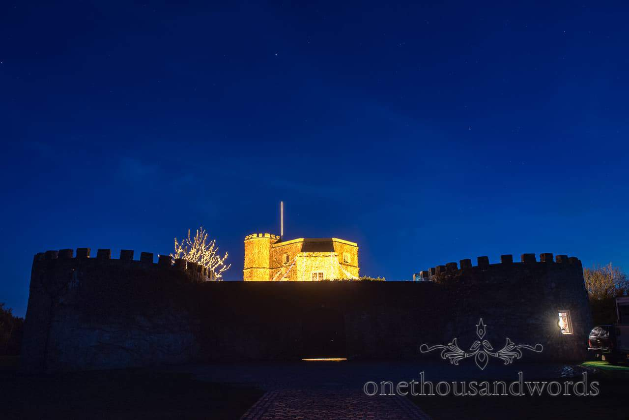 Walton Castle Wedding Venue at Night with Star Lit Sky