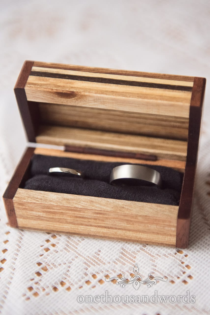 Wedding rings in handmade box from Scaplens Court wedding photographs
