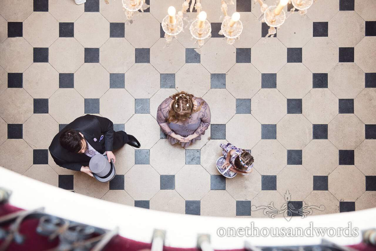 Aerial photograph of grooms man and bridesmaid at Upton House wedding